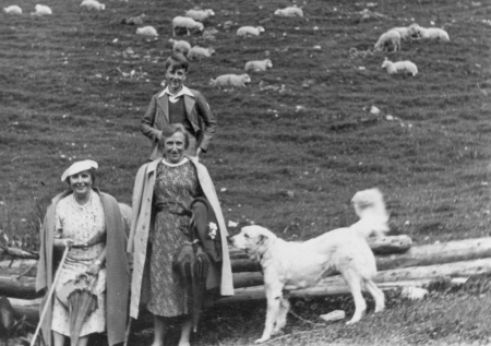 Black-and-white photograph of a young boy standing behind a white dog and two women, one of which sits on a pile of wooden logs. A flock of sheep roam in the background.