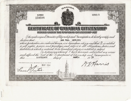 Black-and-white photocopy of a document with elaborate bordering that includes maple leaves and an illustration of the Canadian Parliament on the bottom. The certificate has italicized writing and two signatures.
