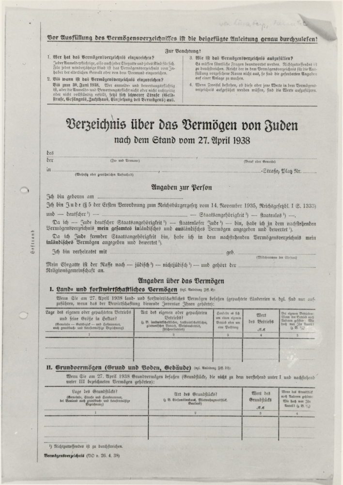 A document written in German with the title ''Inventory form of Jewish Property''. It has two tables at the bottom of the front page which are blank.