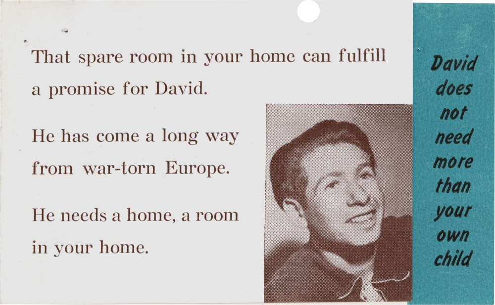 Copy of a page from a brochure with six lines of typed text, and a black-and-white photograph of a smiling young man in the bottom-right corner. A vertical blue bar on the far right displays more text.