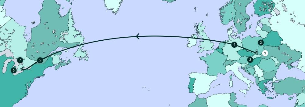 Une carte illustrant la plupart de l'Amérique du Nord, de l'Europe, et une partie de l'Afrique. Une ligne traverse divers endroits de la carte.
