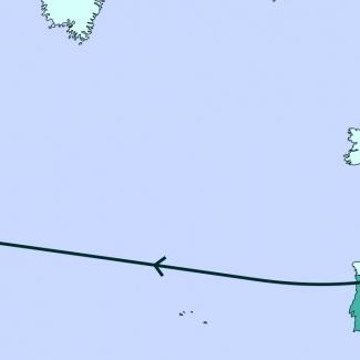 Une carte grise illustrant la plupart de l'Amérique du Nord, de l'Europe, et une partie de l'Afrique. Une ligne traverse divers endroits de la carte.